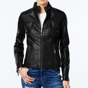 JOU JOU Black Vegan Leatehr Moto Jacket